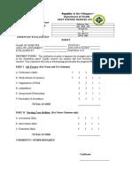 Orientee Evaluation Sheet