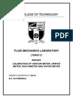 Fluid Mechanics Calibration Report