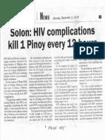 Malaya, Dec. 2, 2019, Solon HIV complication s kill 1 Pinoy every 12 hours.pdf