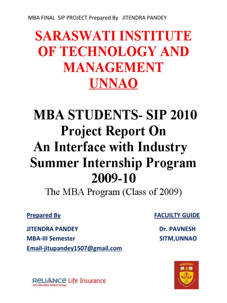 Final MBA SIP Project By JITENDRA PANDEY