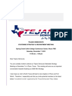 Tejano Democrats - Invite to Statewide Strategy Recruitment Meeting in Plano