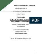 Práctica No3. Calor de Disolución Del Carbonato Anhídrido