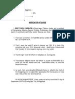 Affidavit of Loss - Pagibig Id