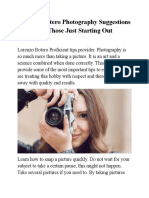 Lorenzo Botero Photography Suggestions for Those Just Starting Out