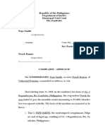 Sample Affidavit of Complaint Format