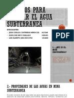 Estudios Para Evacuar El Agua Subterranea