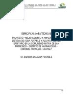 ESPECIFICACIONES DE AGUA POTABLE-PROYECTO DE SANEAMIENTO