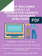 December Open House Update