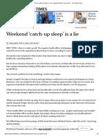 Weekend Catch-up Sleep is a Lie News Article