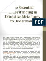 The Essential Understanding in Extractive Metallurgy to Understanding
