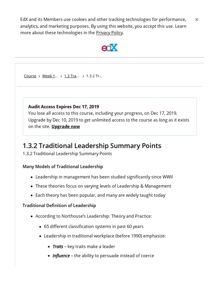 1 3 2 Traditional Leadership Summary Points 1 3 Traditional Leadership Ence607 4x Courseware Edx Transformational Leadership Leadership