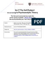 Who Am I? The Self/Subject According to Psychoanalytic Theory