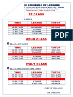 Schedules Class Periode 25 Nov 2019