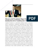 Discurso del Presidente Chávez en la instalación de la Asamblea Constituyente
