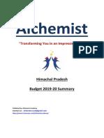 Himachal Pradesh Budget 2019-20 Summary [by Alchemist Academy]