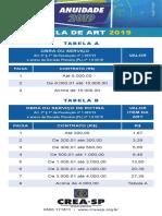 TABELA DE ART CREA 2019