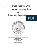 STATE OF LOUISIANA Contractors Licensing Law and Rules and Regulations