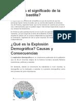 Toma de Bastilla y Explosion Demografica