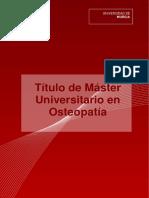 Máster Univ. en Osteopatía