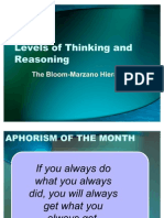 Levels of Thinking and Reasoning