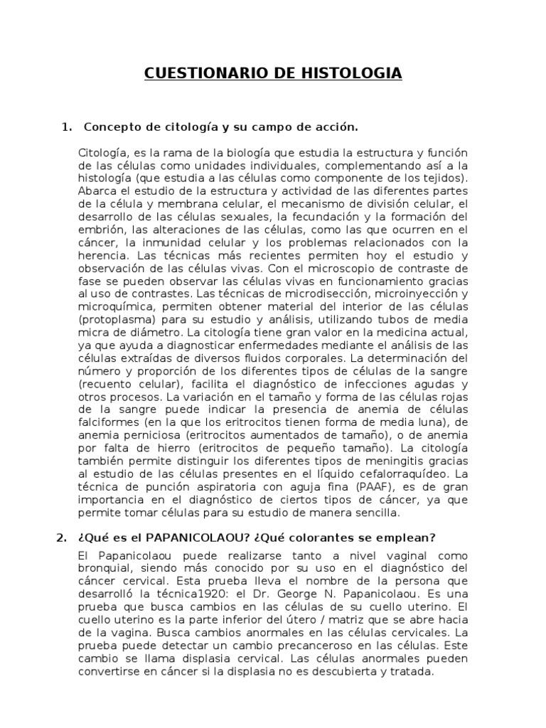cuestionario de histologia