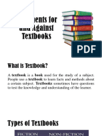 Arguments for and Against Textbooks