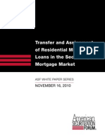 ASF White Paper 11-16-10 Transfer and Assignment of Residential Mortgage Loans in the Secondary Mortgage Market