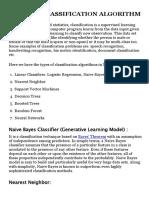 Types of Classification Algorithm