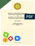 Myanmar IBBS and Population Size Estimates Among PWID 2017-2018