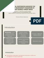 Ecological Restoration Modifies the Value of Biodiversity Indicatorrrs [Autosaved]