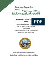 Internship Report on KBL