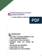 Parental Authority of Teachers and School Discipline