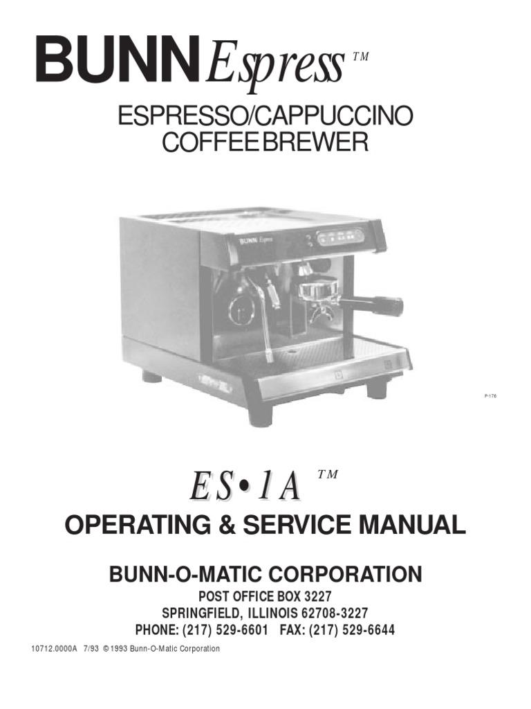 Bunn Es 1a Manual Valve Water Heating Model Bx Wiring Diagram