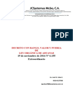 Decreto Con Rango, Valor y Fuerza de Ley Orgánica de Aduanas 19-11-2014