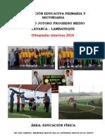 Proyecto Olimpiadas Institución Educativa Nº 11245 Jotoro Progreso Medio, Primaria y Secundaria