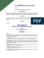 9.1-Reglamento de La Ley de Aviación Civil (Acuerdo Gubernativo 384-2001)