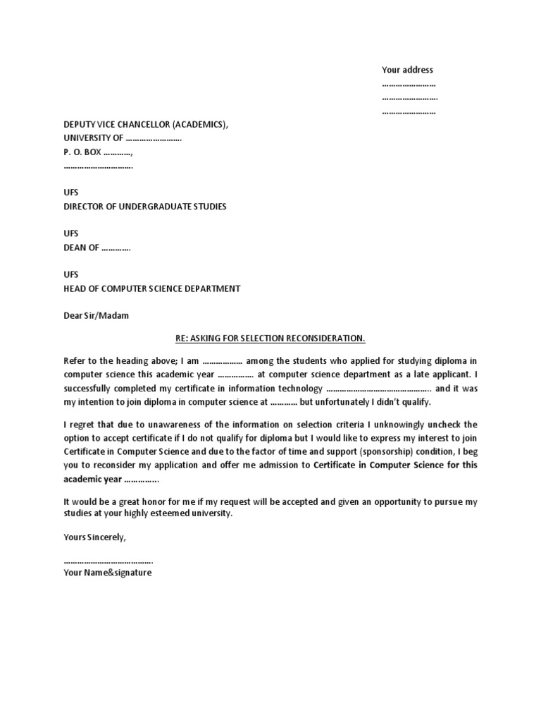 Sample Letter for Admission Reconsideration – Sample Letter of Intent Medical School