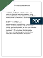 MATRICES Y DETERMINANTES Introduccion, Aprendizaje, e Indice