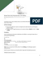 Reset Security Passwords in IP Office