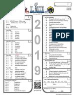 2019 Super Bowl LIII 53 Prop Bet Sheet