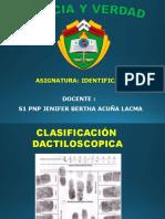 CLASIFICACIÓN DACTILOSOPICA