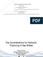 Key Considerations for Hydraulic Fracturing of Gas Shales