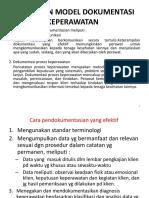 Komponen Model Dokumentasi Keperawatan