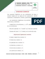 Material de apoyo 1.  Expresiones algebraicas (suma, resta, multiplicación y división).  Ecuaciones de segundo grado..docx