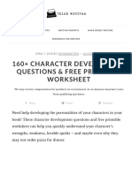 Character Development Questions & Free Printable Worksheets