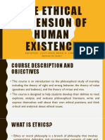 The Ethical Dimension of Human Existence