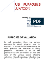 Various Purposes of Valuation