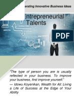Entrepreneurial Talents