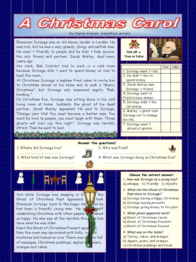 A Christmas Carol Simplified Version Key Included Reading Comprehension Exercises 14486 Docx Ebenezer Scrooge Jacob Marley