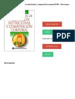 Fundamentos de Valoracion Nutricional y Composicion Corporal PDF - Descargar, Leer DESCARGAR LEER ENGLISH VERSION DOWNLOAD READ.